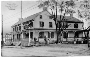 "Trappe Tavern, c. 1910. Originally known as the Fountain Inn, this building has served as a tavern since it was built in the late 1700s. By 1823, the inn's barn, sheds, and stables could accommodate up to 75 wagons and 150 horses. A ""Big Spring"" nearby provided water via underground wooden pipes to a distillery and the inn, which had three fountain pumps in the yard for watering thirsty horses. Traces of the spring remain in the pond located at nearby Rambo Park. During the tenure of Edward Beckman, from 1897 to 1930, the tavern was advertised as a ""drover's headquarters"" with ""first class accommodations."" (Courtesy of Jerry A. Chiccarine.)"